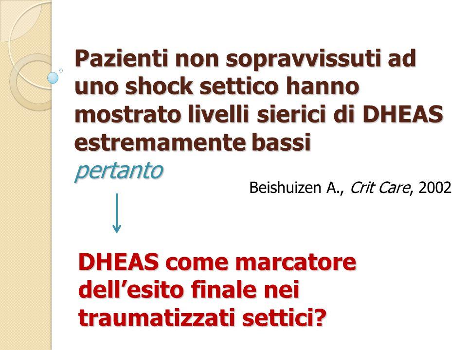 Beishuizen A., Crit Care, 2002 DHEAS come marcatore dell'esito finale nei traumatizzati settici.