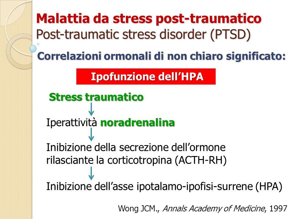 Malattia da stress post-traumatico Post-traumatic stress disorder (PTSD) Stress traumatico Correlazioni ormonali di non chiaro significato: noradrenalina Iperattività noradrenalina Inibizione della secrezione dell'ormone rilasciante la corticotropina (ACTH-RH) Inibizione dell'asse ipotalamo-ipofisi-surrene (HPA) Wong JCM., Annals Academy of Medicine, 1997 Ipofunzione dell'HPA