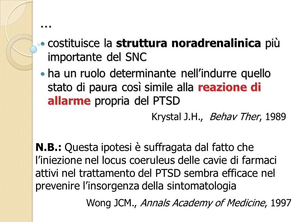 costituisce la struttura noradrenalinica più importante del SNC costituisce la struttura noradrenalinica più importante del SNC ha un ruolo determinante nell'indurre quello stato di paura così simile alla reazione di allarme propria del PTSD ha un ruolo determinante nell'indurre quello stato di paura così simile alla reazione di allarme propria del PTSD N.B.: Questa ipotesi è suffragata dal fatto che l'iniezione nel locus coeruleus delle cavie di farmaci attivi nel trattamento del PTSD sembra efficace nel prevenire l'insorgenza della sintomatologia Krystal J.H., Behav Ther, 1989 … Wong JCM., Annals Academy of Medicine, 1997