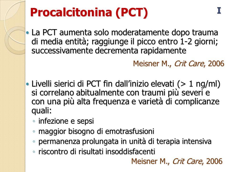 Procalcitonina (PCT) La PCT aumenta solo moderatamente dopo trauma di media entità; raggiunge il picco entro 1-2 giorni; successivamente decrementa rapidamente La PCT aumenta solo moderatamente dopo trauma di media entità; raggiunge il picco entro 1-2 giorni; successivamente decrementa rapidamente Livelli sierici di PCT fin dall'inizio elevati (> 1 ng/ml) si correlano abitualmente con traumi più severi e con una più alta frequenza e varietà di complicanze quali: Livelli sierici di PCT fin dall'inizio elevati (> 1 ng/ml) si correlano abitualmente con traumi più severi e con una più alta frequenza e varietà di complicanze quali: ◦ infezione e sepsi ◦ maggior bisogno di emotrasfusioni ◦ permanenza prolungata in unità di terapia intensiva ◦ riscontro di risultati insoddisfacenti I Meisner M., Crit Care, 2006