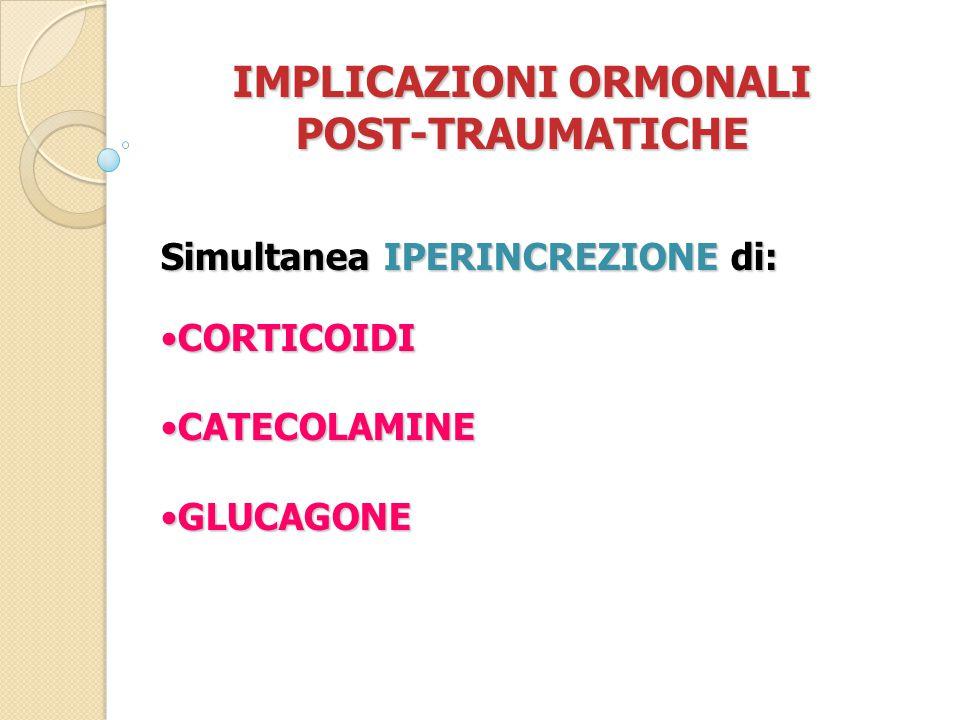 IMPLICAZIONI ORMONALI POST-TRAUMATICHE Simultanea IPERINCREZIONE di: CORTICOIDICORTICOIDI CATECOLAMINECATECOLAMINE GLUCAGONEGLUCAGONE
