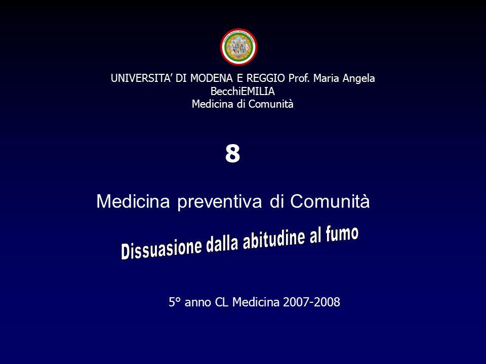 5° anno CL Medicina 2007-2008 8 UNIVERSITA' DI MODENA E REGGIO Prof.