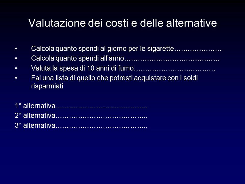 Valutazione dei costi e delle alternative Calcola quanto spendi al giorno per le sigarette………………… Calcola quanto spendi all'anno…………………………………… Valuta la spesa di 10 anni di fumo……………………………… Fai una lista di quello che potresti acquistare con i soldi risparmiati 1° alternativa…………………………………..