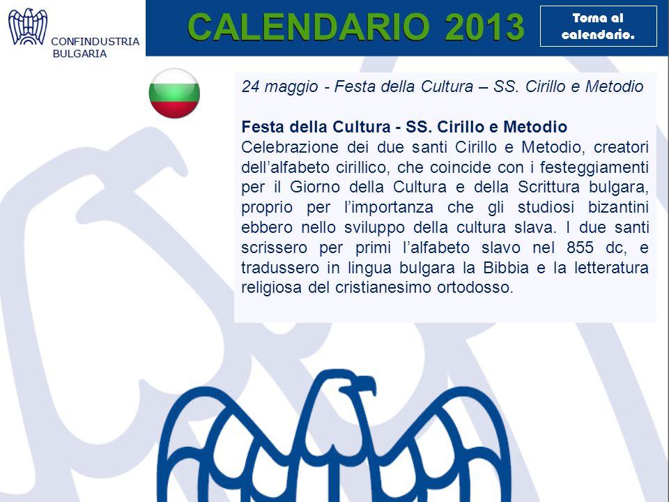 CALENDARIO 2013 24 maggio - Festa della Cultura – SS.