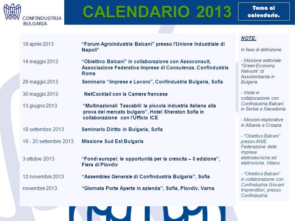 CALENDARIO 2013 19 aprile 2013 Forum Agroindustria Balcani presso l'Unione Industriale di Napoli 14 maggio 2013 Obiettivo Balcani in collaborazione con Assoconsult, Associazione Federativa Imprese di Consulenza, Confindustria Roma 28 maggio 2013Seminario Imprese e Lavoro , Confindustria Bulgaria, Sofia 30 maggio 2013 NetCocktail con la Camera francese 13 giugno 2013 Multinazionali Tascabili: la piccola industria italiana alla prova del mercato bulgaro , Hotel Sheraton Sofia in collaborazione con l'Ufficio ICE 18 settembre 2013 Seminario Diritto in Bulgaria, Sofia 19 - 20 settembre 2013 Missione Sud Est Bulgaria 3 ottobre 2013 Fondi europei: le opportunità per la crescita – II edizione , Fiera di Plovdiv 12 novembre 2013 Assemblea Generale di Confindustria Bulgaria , Sofia novembre 2013 Giornata Porte Aperte in azienda , Sofia, Plovdiv, Varna NOTE: In fase di definizione: - Missione settoriale Green Economy Network di Assolombarda in Bulgaria - Visite in collaborazione con Confindustria Balcani in Serbia e Macedonia - Missioni esplorative in Albania e Croazia - Obiettivo Balcani presso ANIE, Federazione delle imprese elettrotecniche ed elettroniche, Milano - Оbiettivo Balcani in collaborazione con Confindustria Giovani Imprenditori, presso Confindustria Torna al calendario.