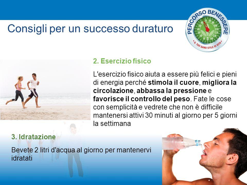 Consigli per un successo duraturo 2. Esercizio fisico L'esercizio fisico aiuta a essere più felici e pieni di energia perché stimola il cuore, miglior
