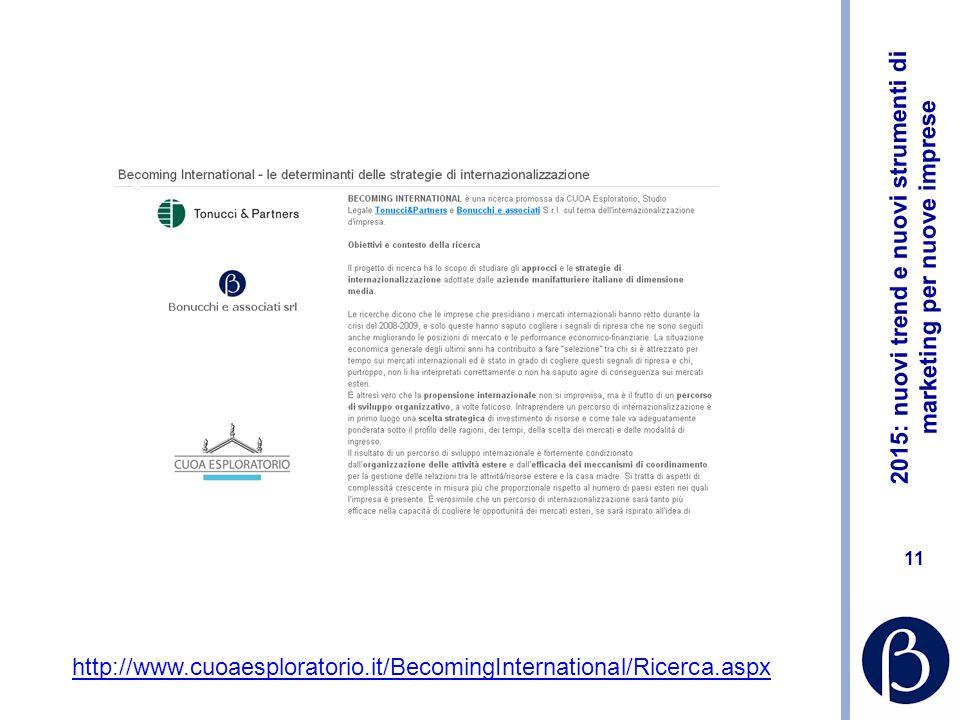 2015: nuovi trend e nuovi strumenti di marketing per nuove imprese 10 http://web.e- mathesis.it:8080/home/it/documenti/centro_studi/Prometeia_presenta