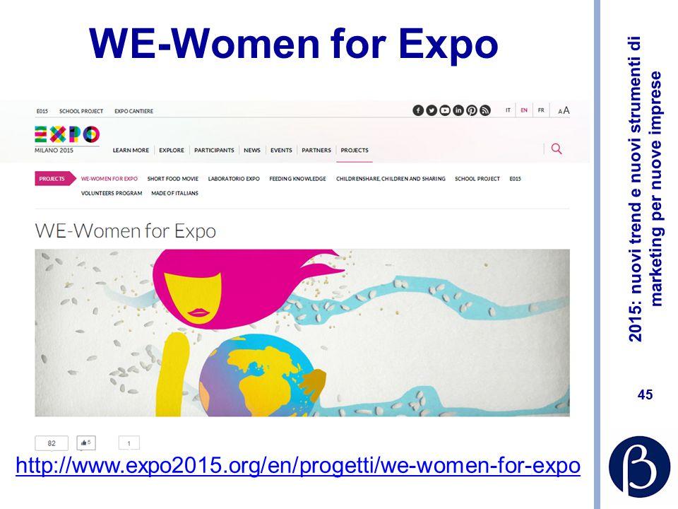 2015: nuovi trend e nuovi strumenti di marketing per nuove imprese 44 Ebook #expottimisti http://www.wired.it/economia/business/2014/07/09/expotti misti-wired-expo-2015-milano/