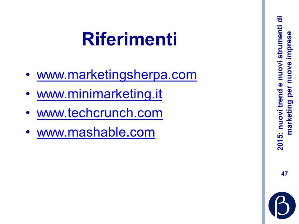 2015: nuovi trend e nuovi strumenti di marketing per nuove imprese 46 Filmato Vittorio Viarengo https://www.youtube.com/watch?v=OLBkc--rQ8U