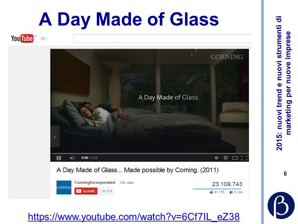 2015: nuovi trend e nuovi strumenti di marketing per nuove imprese 6 6 A Day Made of Glass https://www.youtube.com/watch?v=6Cf7IL_eZ38