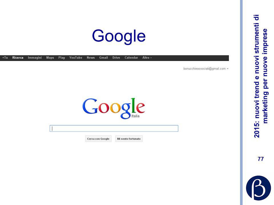 2015: nuovi trend e nuovi strumenti di marketing per nuove imprese 76 La ricerca Utilizzo avanzato dei motori di ricerca L'ascolto del web