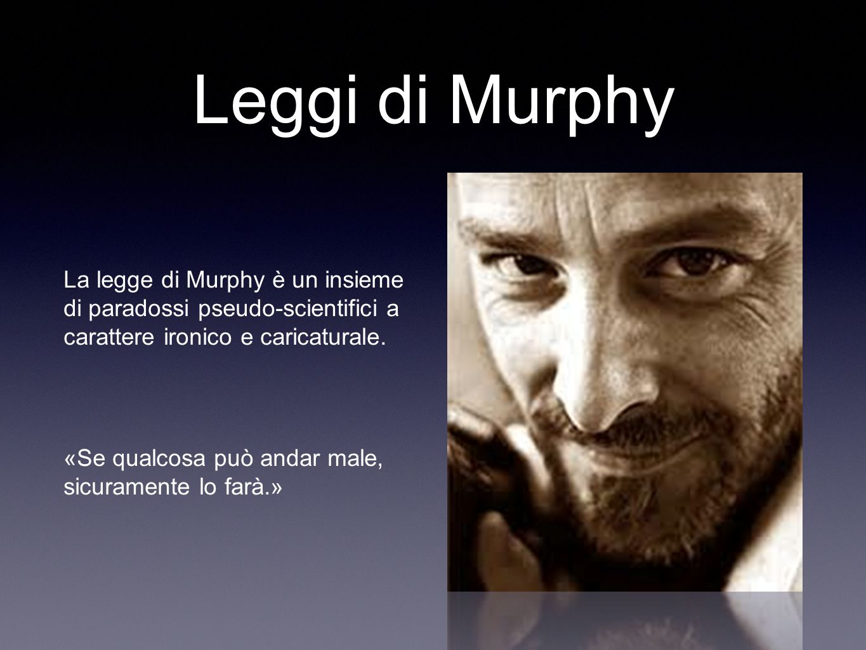 Leggi di Murphy La legge di Murphy è un insieme di paradossi pseudo-scientifici a carattere ironico e caricaturale.