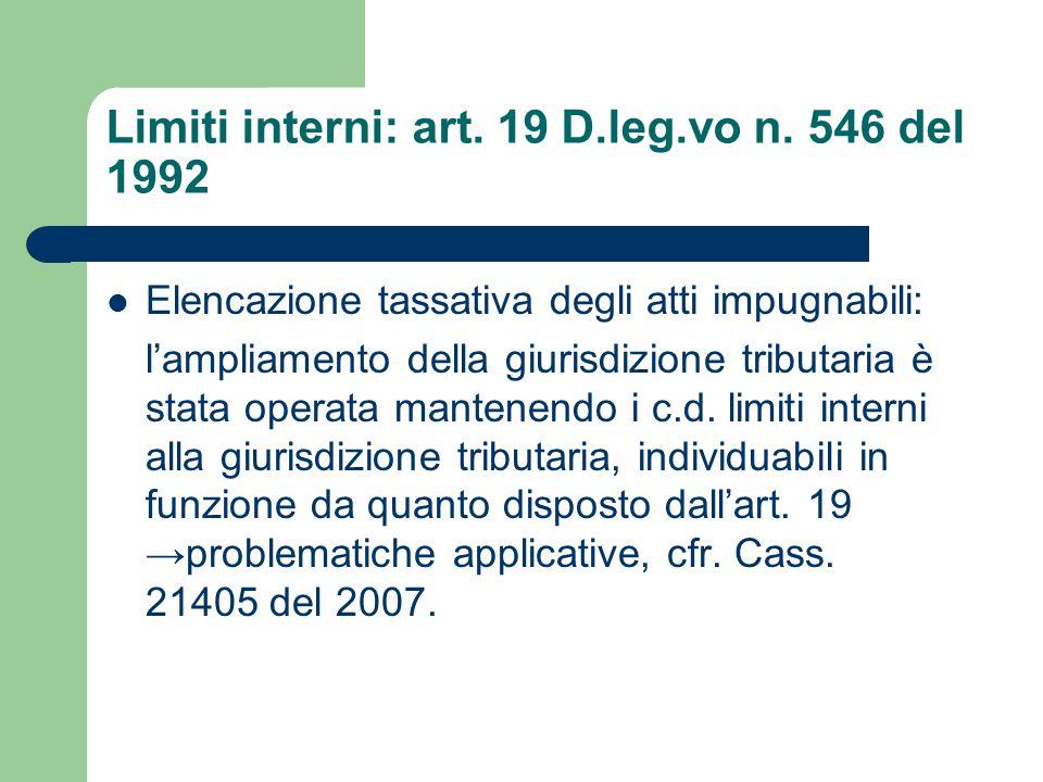 Limiti interni: art. 19 D.leg.vo n.