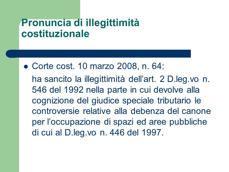 Pronuncia di illegittimità costituzionale Corte cost.