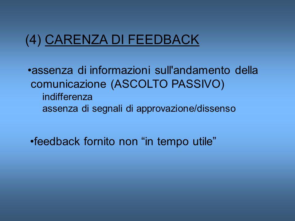 (4) CARENZA DI FEEDBACK assenza di informazioni sull andamento della comunicazione (ASCOLTO PASSIVO) indifferenza assenza di segnali di approvazione/dissenso feedback fornito non in tempo utile
