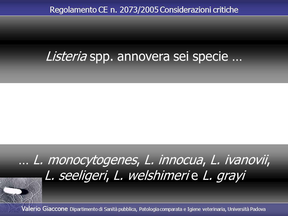 Regolamento CE n. 2073/2005 Considerazioni critiche … L. monocytogenes, L. innocua, L. ivanovii, L. seeligeri, L. welshimeri e L. grayi Listeria spp.