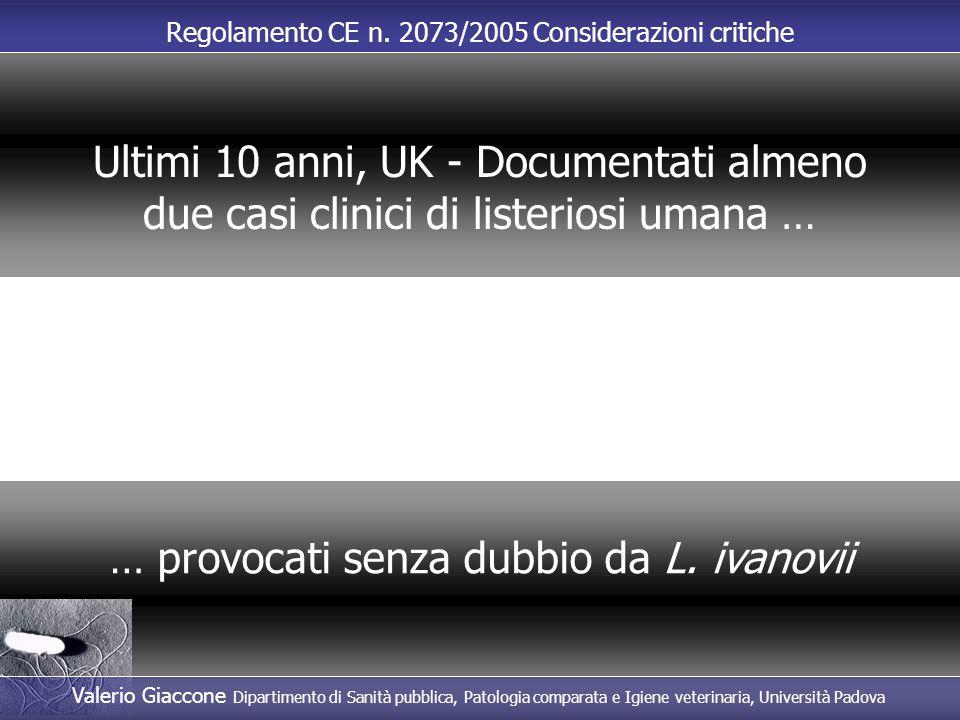 Regolamento CE n. 2073/2005 Considerazioni critiche … provocati senza dubbio da L. ivanovii Ultimi 10 anni, UK - Documentati almeno due casi clinici d