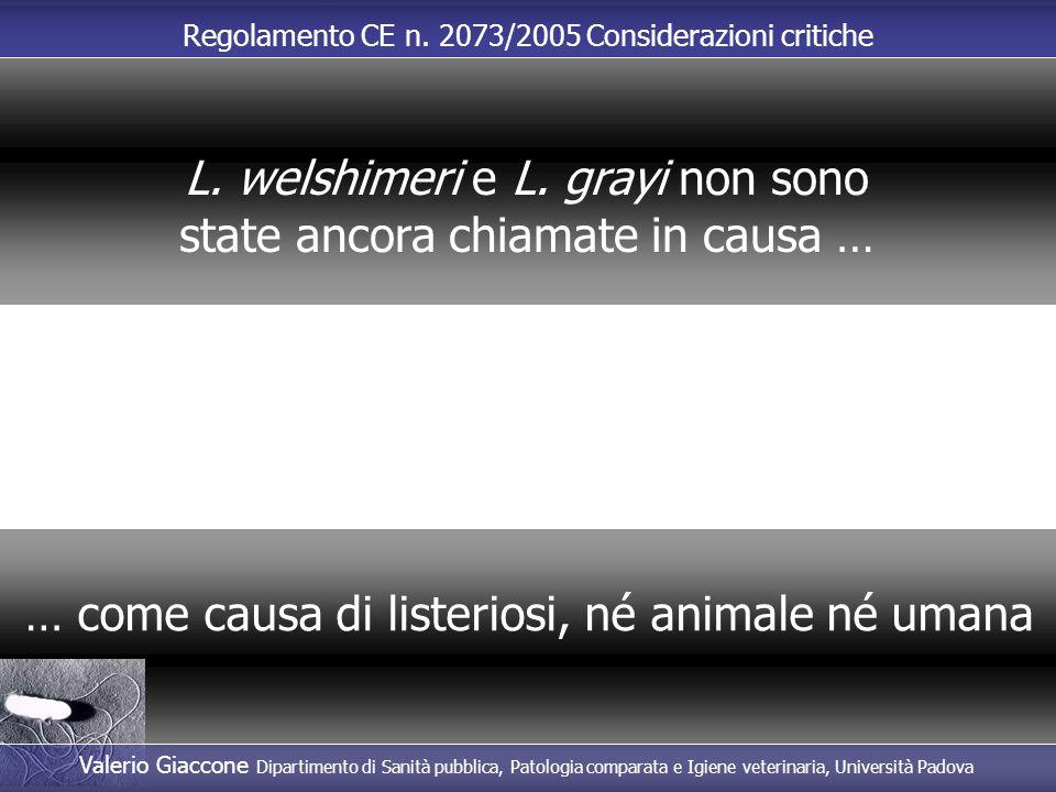 Regolamento CE n. 2073/2005 Considerazioni critiche … come causa di listeriosi, né animale né umana L. welshimeri e L. grayi non sono state ancora chi