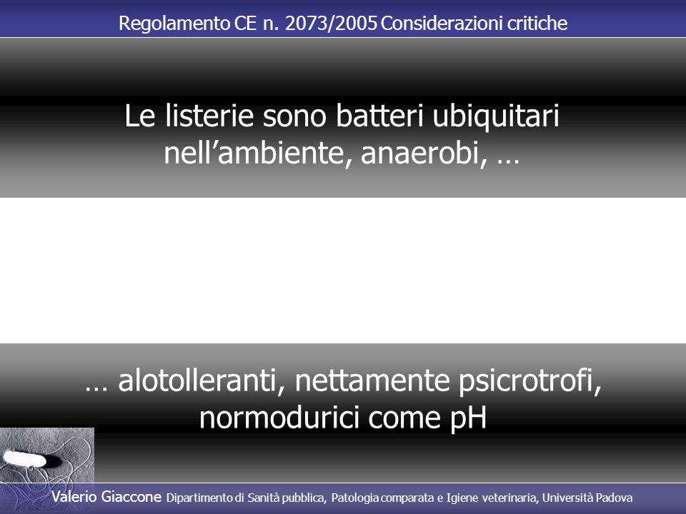Regolamento CE n. 2073/2005 Considerazioni critiche … alotolleranti, nettamente psicrotrofi, normodurici come pH Le listerie sono batteri ubiquitari n