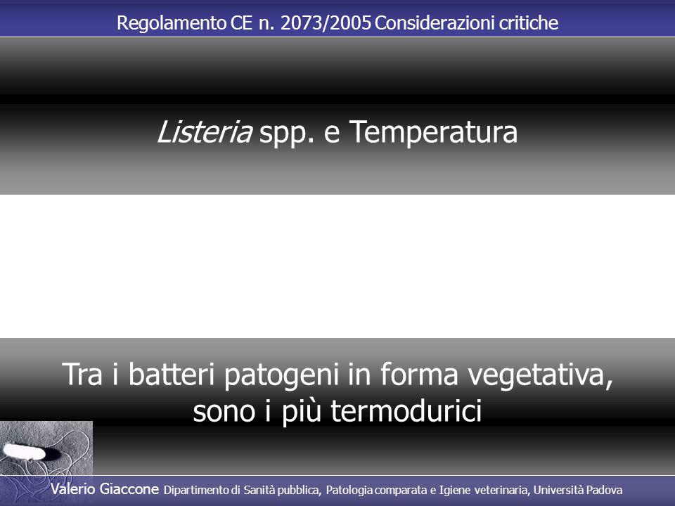 Regolamento CE n. 2073/2005 Considerazioni critiche Tra i batteri patogeni in forma vegetativa, sono i più termodurici Listeria spp. e Temperatura Val