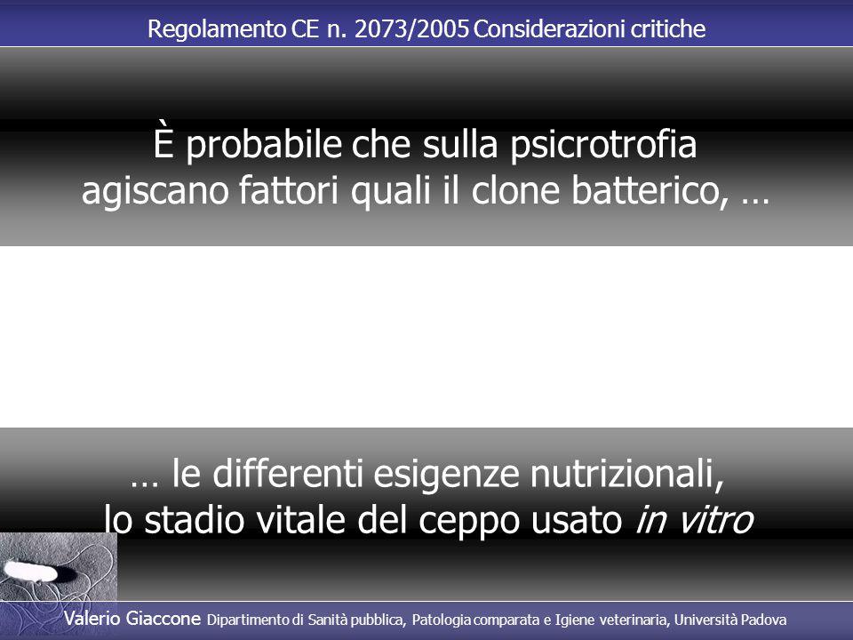 Regolamento CE n. 2073/2005 Considerazioni critiche … le differenti esigenze nutrizionali, lo stadio vitale del ceppo usato in vitro È probabile che s