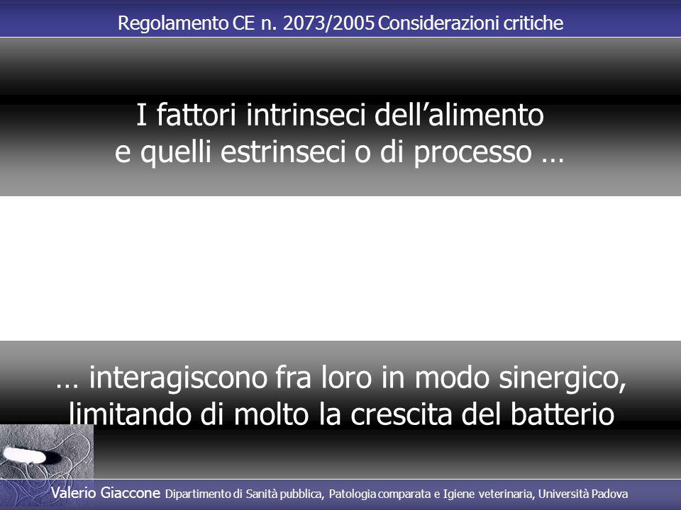 Regolamento CE n. 2073/2005 Considerazioni critiche … interagiscono fra loro in modo sinergico, limitando di molto la crescita del batterio I fattori