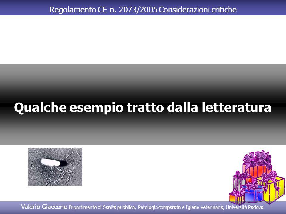 Regolamento CE n. 2073/2005 Considerazioni critiche Qualche esempio tratto dalla letteratura