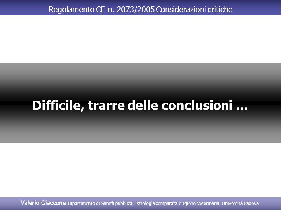 Regolamento CE n. 2073/2005 Considerazioni critiche Difficile, trarre delle conclusioni …