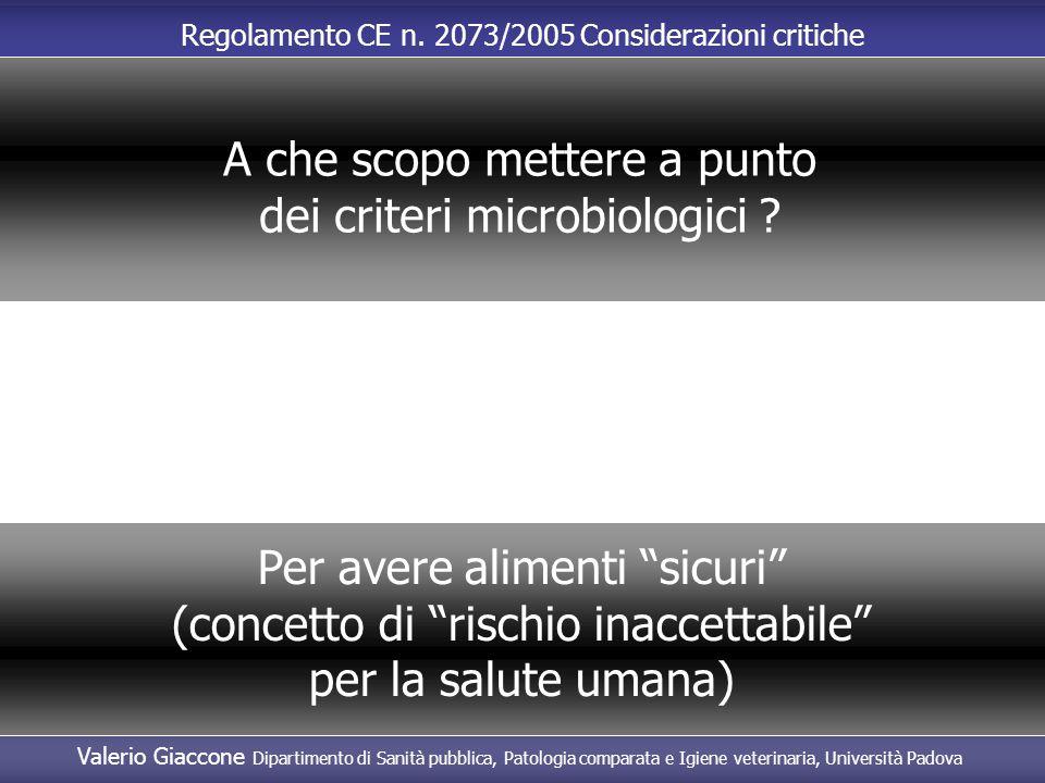 """Regolamento CE n. 2073/2005 Considerazioni critiche A che scopo mettere a punto dei criteri microbiologici ? Per avere alimenti """"sicuri"""" (concetto di"""