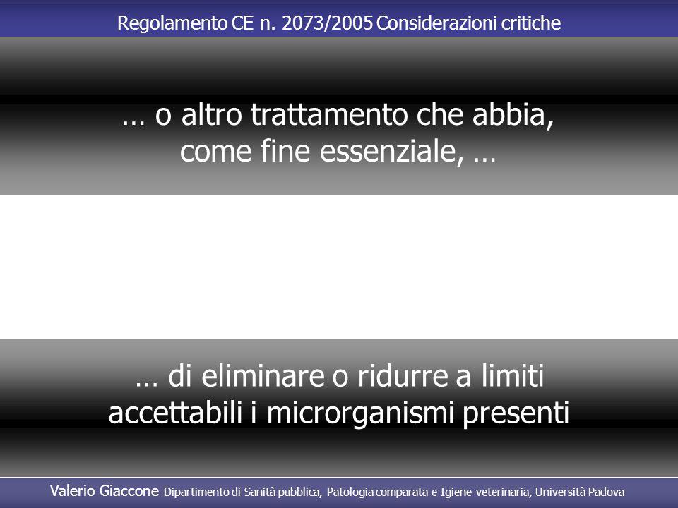 Valerio Giaccone Dipartimento di Sanità pubblica, Patologia comparata e Igiene veterinaria, Università Padova Regolamento CE n. 2073/2005 Considerazio