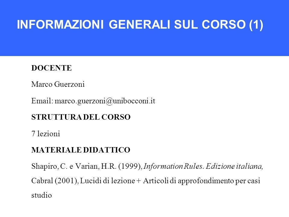 INFORMAZIONI GENERALI SUL CORSO (1) DOCENTE Marco Guerzoni Email: marco.guerzoni@unibocconi.it STRUTTURA DEL CORSO 7 lezioni MATERIALE DIDATTICO Shapiro, C.