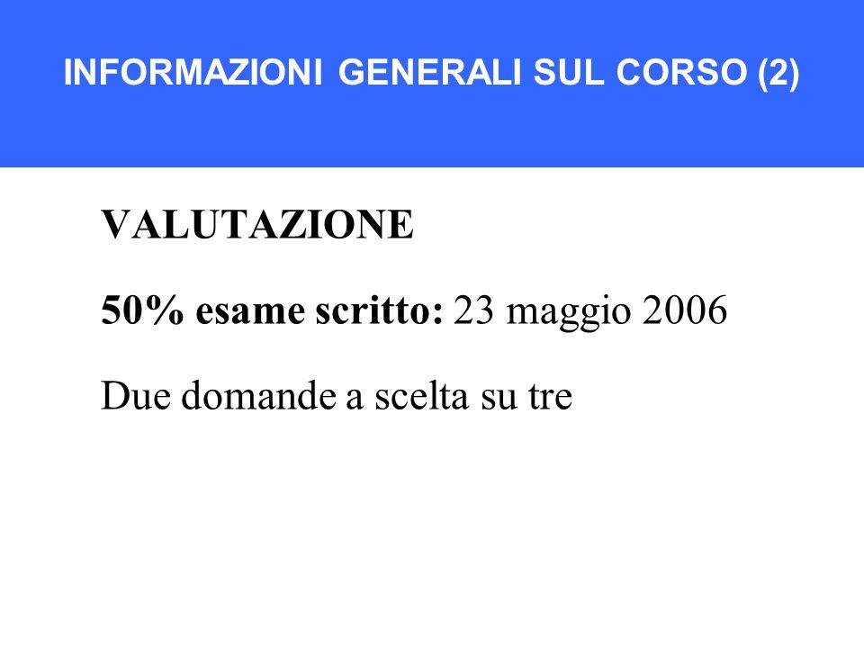 INFORMAZIONI GENERALI SUL CORSO (2) VALUTAZIONE 50% esame scritto: 23 maggio 2006 Due domande a scelta su tre