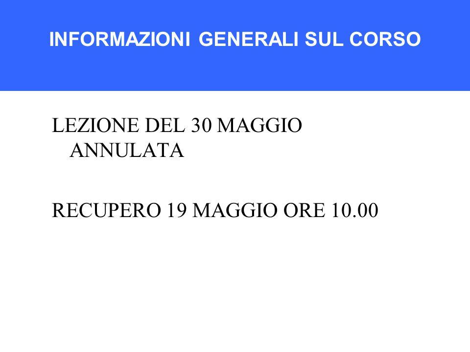 LEZIONE DEL 30 MAGGIO ANNULATA RECUPERO 19 MAGGIO ORE 10.00 INFORMAZIONI GENERALI SUL CORSO