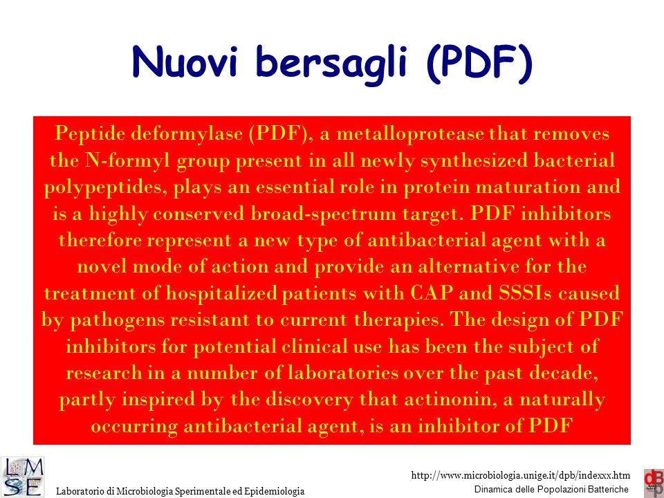 http://www.microbiologia.unige.it/dpb/indexxx.htm Dinamica delle Popolazioni Batteriche Laboratorio di Microbiologia Sperimentale ed Epidemiologia Nuovi bersagli (PDF) LBM415 (PDF-713) inibitore della sintesi proteica peptidedeformylase(PDF) Attivo su Gram-positivi e Haemophilus influenzae.