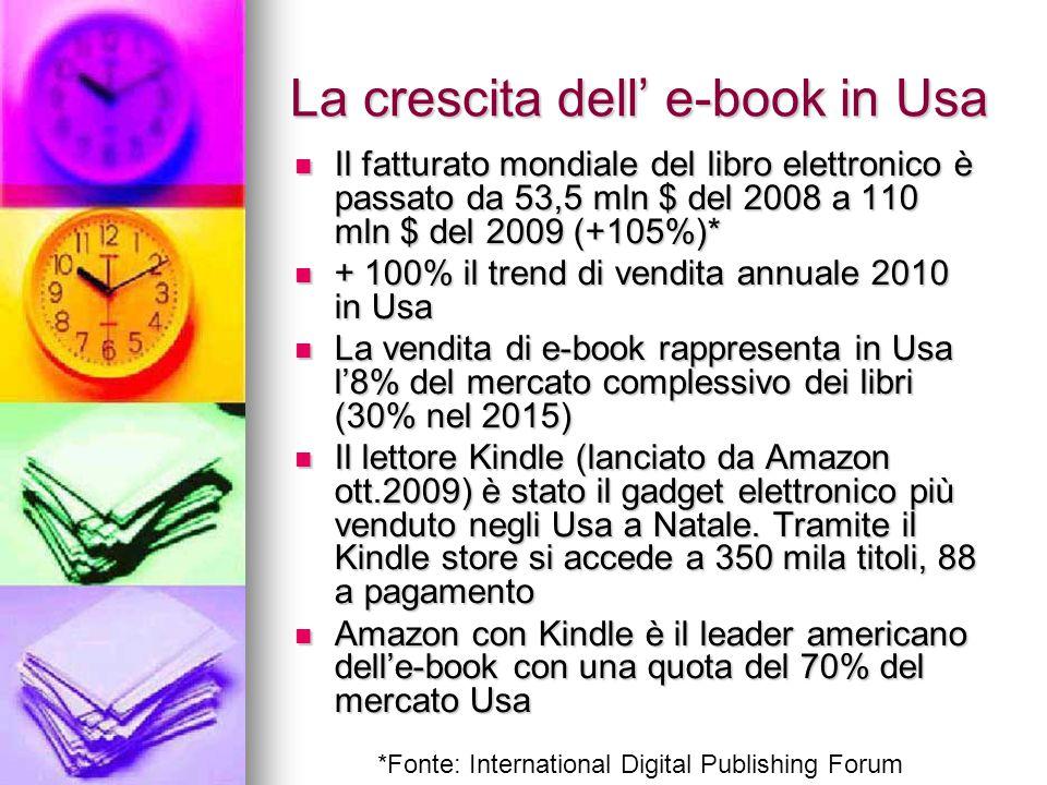 La crescita dell' e-book in Usa Il fatturato mondiale del libro elettronico è passato da 53,5 mln $ del 2008 a 110 mln $ del 2009 (+105%)* Il fatturat