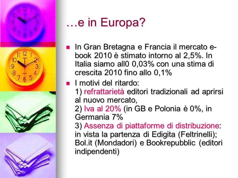 …e in Europa? In Gran Bretagna e Francia il mercato e- book 2010 è stimato intorno al 2,5%. In Italia siamo all0 0,03% con una stima di crescita 2010