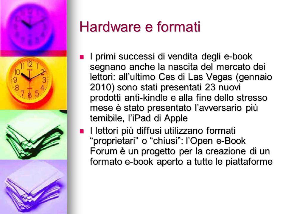 Hardware e formati I primi successi di vendita degli e-book segnano anche la nascita del mercato dei lettori: all'ultimo Ces di Las Vegas (gennaio 201