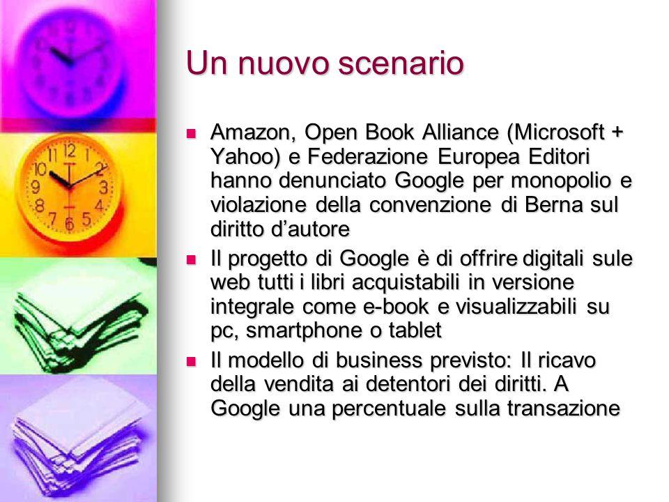 Un nuovo scenario Amazon, Open Book Alliance (Microsoft + Yahoo) e Federazione Europea Editori hanno denunciato Google per monopolio e violazione dell