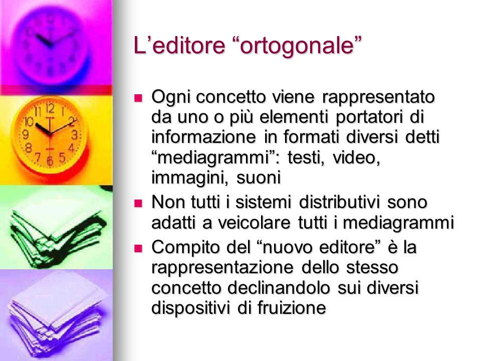 """L'editore """"ortogonale"""" Ogni concetto viene rappresentato da uno o più elementi portatori di informazione in formati diversi detti """"mediagrammi"""": testi"""