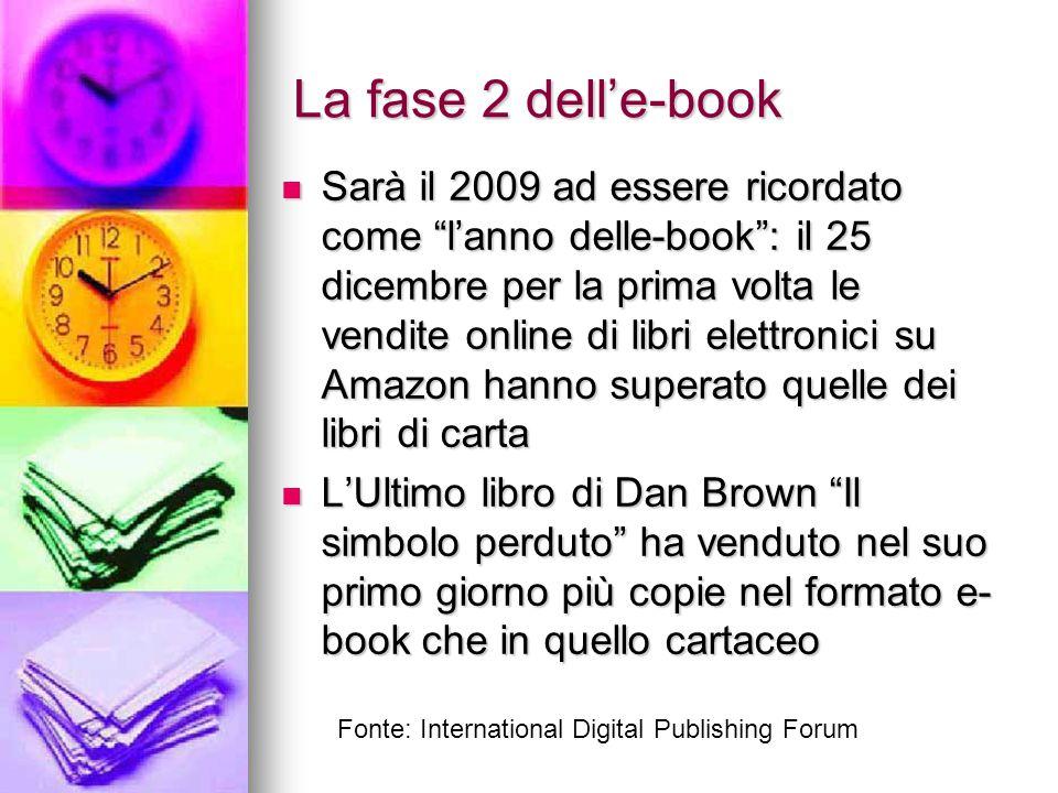 """La fase 2 dell'e-book Sarà il 2009 ad essere ricordato come """"l'anno delle-book"""": il 25 dicembre per la prima volta le vendite online di libri elettron"""