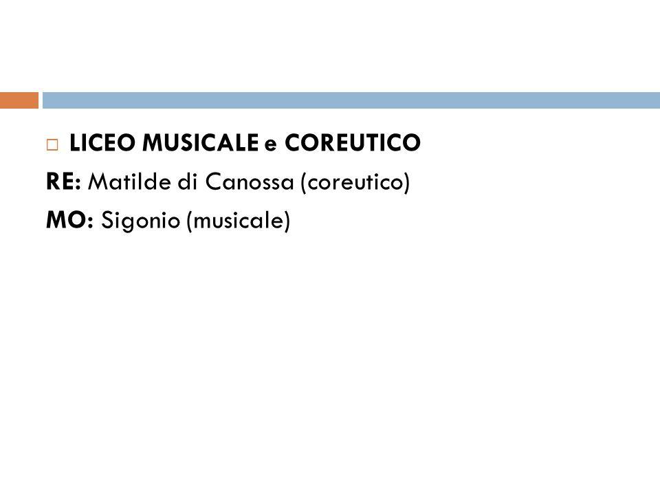  LICEO MUSICALE e COREUTICO RE: Matilde di Canossa (coreutico) MO: Sigonio (musicale)