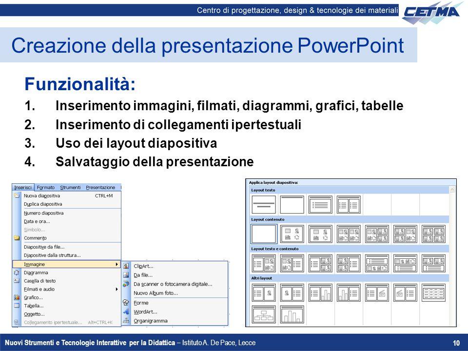 Nuovi Strumenti e Tecnologie Interattive per la Didattica – Istituto A. De Pace, Lecce 10 Creazione della presentazione PowerPoint Funzionalità: 1.Ins