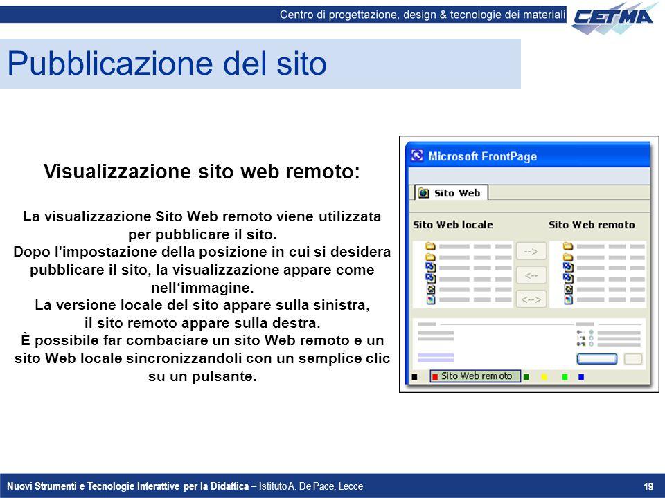 Nuovi Strumenti e Tecnologie Interattive per la Didattica – Istituto A. De Pace, Lecce 19 Pubblicazione del sito Visualizzazione sito web remoto: La v
