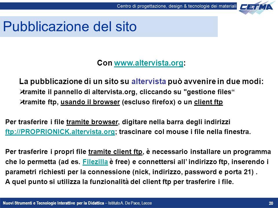 Nuovi Strumenti e Tecnologie Interattive per la Didattica – Istituto A. De Pace, Lecce 20 Pubblicazione del sito Con www.altervista.org:www.altervista
