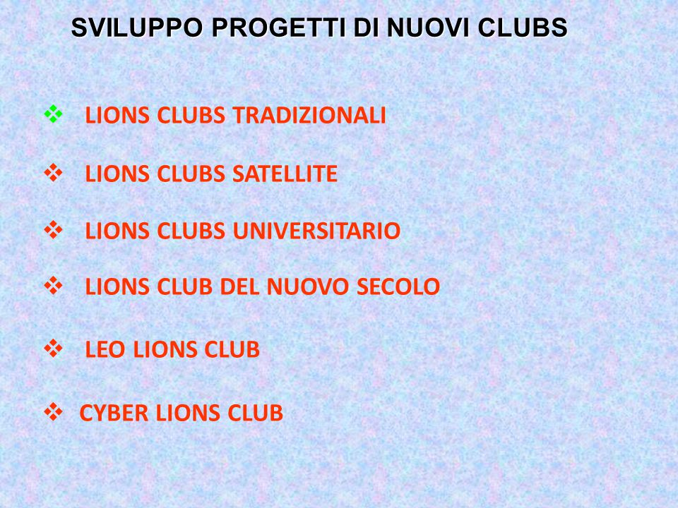  LIONS CLUBS TRADIZIONALI  LIONS CLUBS SATELLITE  LIONS CLUBS UNIVERSITARIO  LIONS CLUB DEL NUOVO SECOLO  LEO LIONS CLUB  CYBER LIONS CLUB SVILU
