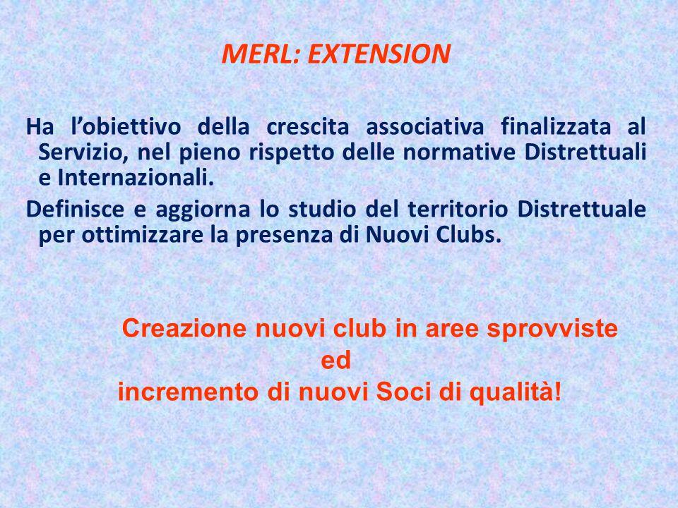 MERL: EXTENSION Ha l'obiettivo della crescita associativa finalizzata al Servizio, nel pieno rispetto delle normative Distrettuali e Internazionali.