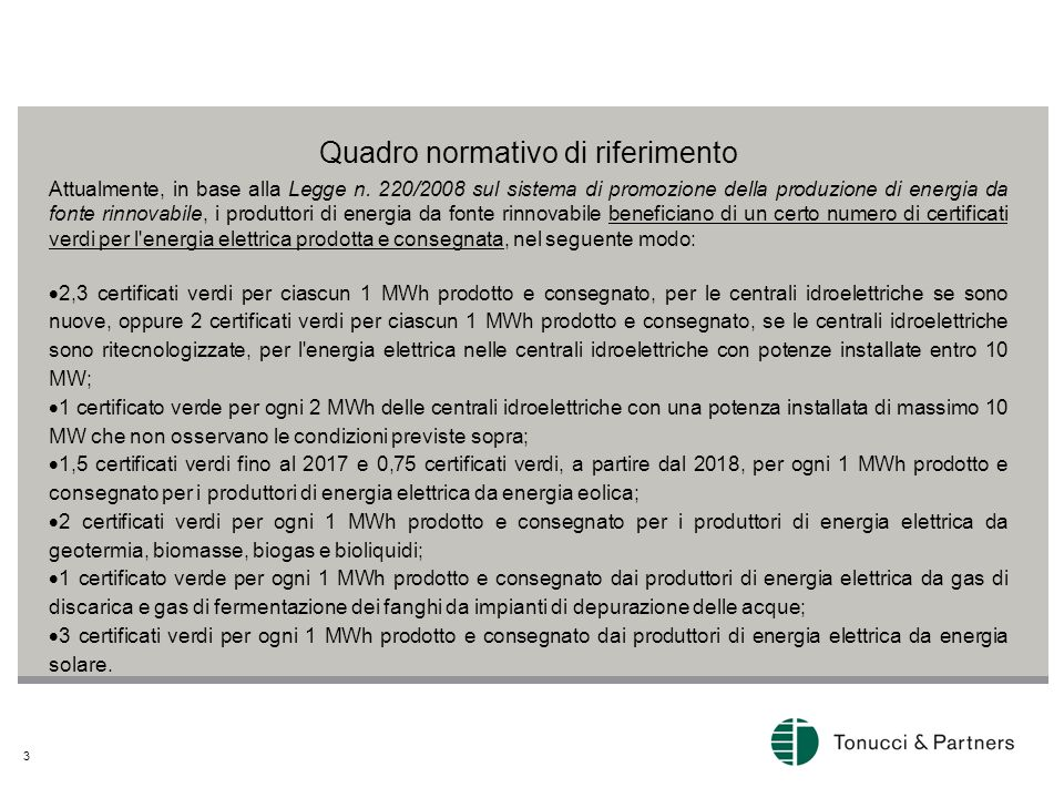 4 Sospensione dei certificati verdi A partire dal 1 luglio 2013 e sino al 31 marzo 2017, la legge prevede un meccanismo di sospensione dei certificati verdi: per gli impianti fotovoltaici sarà sospesa l'emissione di 2 certificati verdi che possono essere recuperati e restituiti a favore dei beneficiari a far data dal 1 aprile 2017; per gli impianti idroelettrici nuovi, con potenza installata max 10 MWh, sarà sospesa l'emissione di 1 certificato verde che potrà essere recuperato e restituito a favore dei beneficiari a far data dal 1 aprile 2017; per gli impianti eolici, sarà sospesa l'emissione di 1 certificato verde che potrà essere recuperato e restituito a favore dei beneficiari a far data dal 1 gennaio 2018.