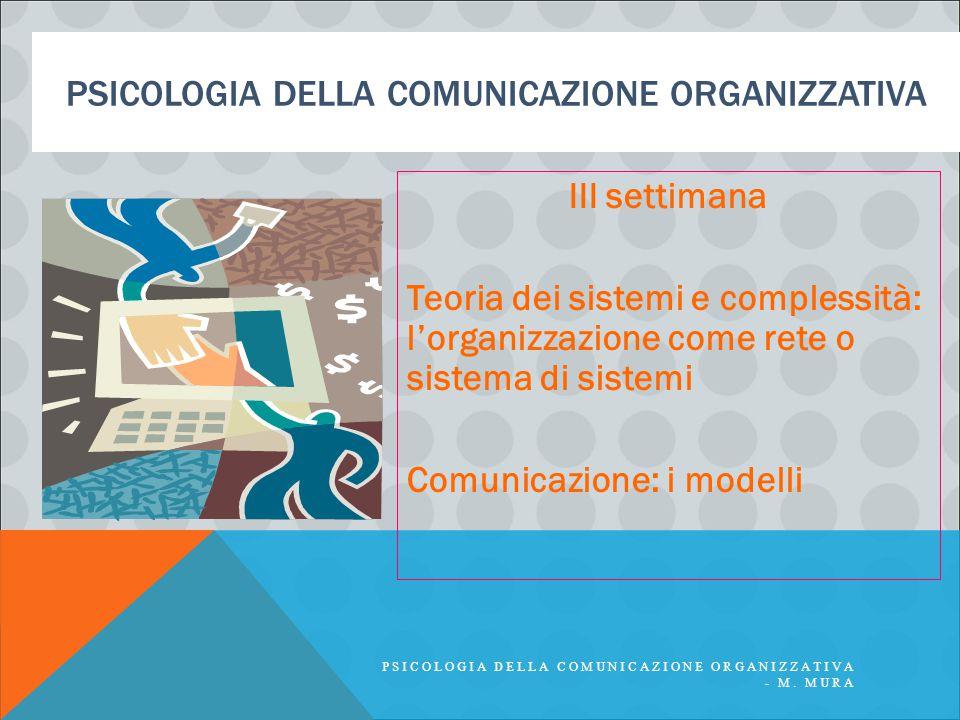 PSICOLOGIA DELLA COMUNICAZIONE ORGANIZZATIVA III settimana Teoria dei sistemi e complessità: l'organizzazione come rete o sistema di sistemi Comunicaz