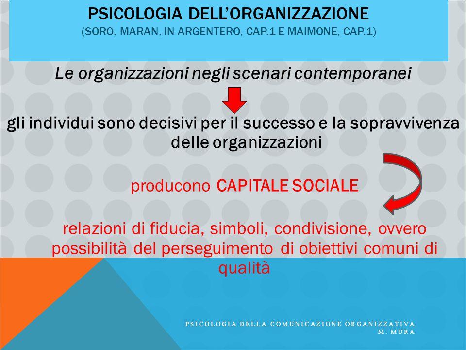 PSICOLOGIA DELL'ORGANIZZAZIONE (SORO, MARAN, IN ARGENTERO, CAP.1 E MAIMONE, CAP.1) Le organizzazioni negli scenari contemporanei gli individui sono de
