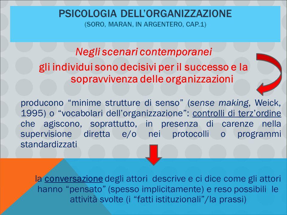 PSICOLOGIA DELL'ORGANIZZAZIONE (SORO, MARAN, IN ARGENTERO, CAP.1) Negli scenari contemporanei gli individui sono decisivi per il successo e la sopravv